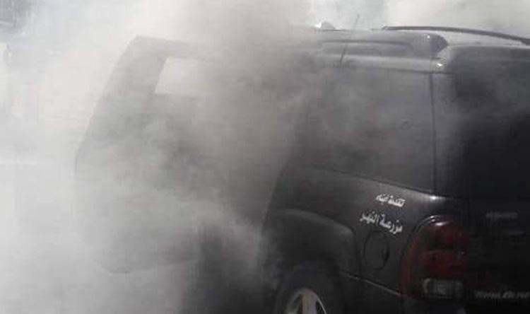 حريق في سيارة في الكورة