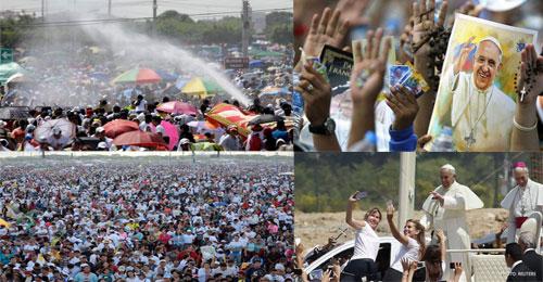 """بالفيديو والصور: """"Selfies"""" ورش مياه وأجواء فرح مع البابا فرنسيس في الإكوادور"""