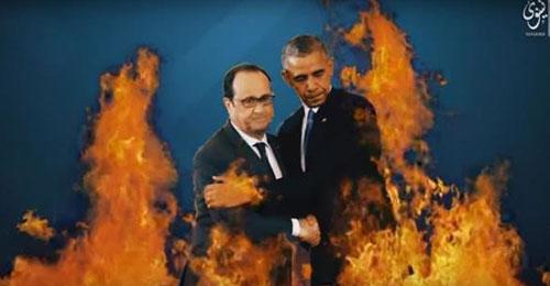 """فيديو جديد لـ""""داعش"""" متوعداً: دم ونار حول أوباما وهولاند"""