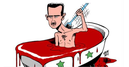 بالصور: الدم الذي سفكه الأسد يتحوّل إلى كاريكاتور تفضح إجرامه