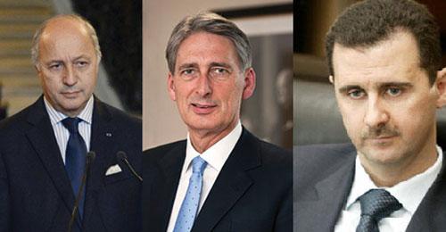 الأسد لا يمكن أن يكون مستقبل سوريا (فيليب هاموند ورولان فابيوس)