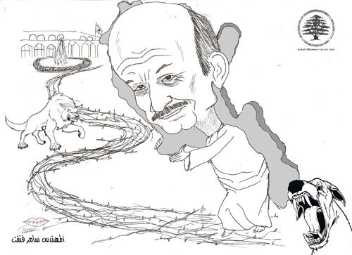 """كاريكاتور موقع """"القوات"""": """"جلجلة لبنان… والحكيم"""" (بريشة سامر فتفت)"""