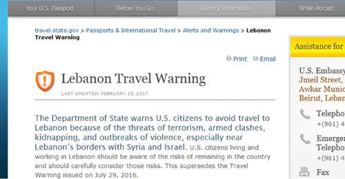 """خاص """"المسيرة"""" ــ واشنطن: تحذير الأميركيين من السفر الى لبنان… إجراء روتيني لا يحمل أي أبعاد"""