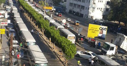 بالصور: اعتصام اتحاد النقل البري