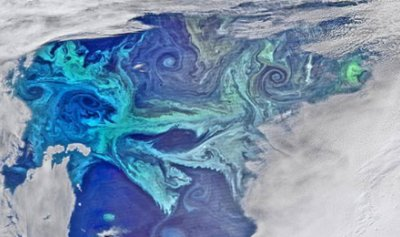 دوامات الطباشير تغطي المحيط الجنوبي