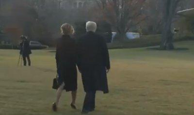 بالفيديو ـ لحظة مغادرة ترمب وميلانيا البيت الأبيض