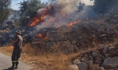 حريق في محيط مدرسة الهبارية