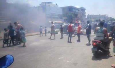 قطع طريق الاوزاعي احتجاجاً على فقدان المازوت