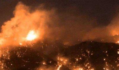 عناصر من إطفاء طرابلس تساعد في إطفاء حرائق الشوف