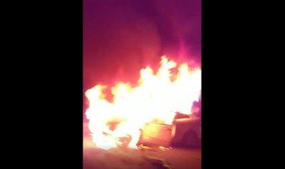 بالفيديو: احتراق سيارة على طريق ضهر البيدر