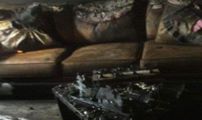 بالصور: حريق داخل منزل في لبايا