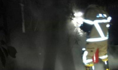 اخماد حريق عمود الطاقة الكهربائية في طورا