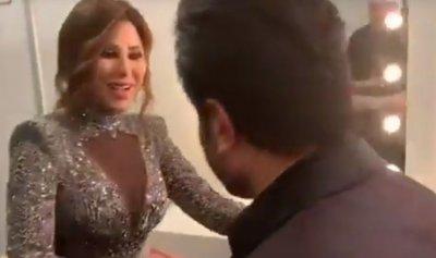 بالفيديو: قبلة وغزل بين نجوى كرم وفنان عربي