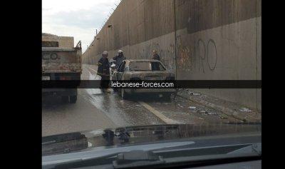 """بالصورة: سيارة """"متفحّمة"""" على طريق المطار"""