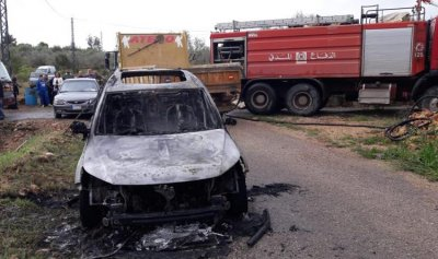 حريق داخل سيارة في بريقع