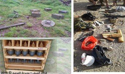 الجيش يعثر على مدفع هاون وأسحلة وذخائر