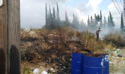 الحرائق تهدد منازل في اقيلم الخروب