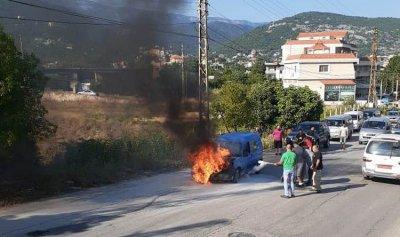 حريق داخل سيارة في القبيات