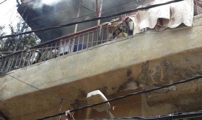 بالصورة: حريق داخل شقة في الجناح