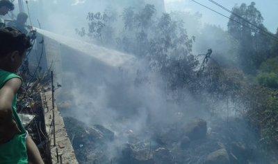 حريق بالقرب من المنازل في عكار