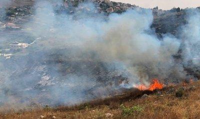 بالصور: حريق كبير في خراج بلدة القليعة