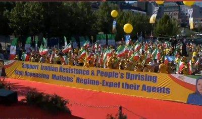 تظاهرة حاشدة تطالب أوروبا بموقف حازم تجاه إيران