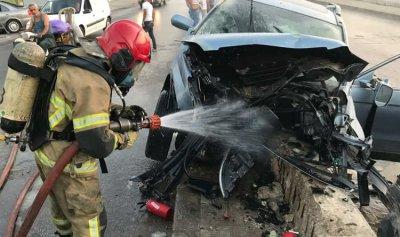 بالصورة: حادث سير على أوتوستراد المطار
