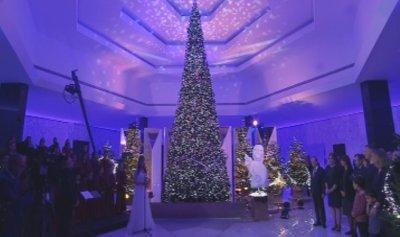 بالصور: إضاءة شجرة الميلاد في قصر بعبدا
