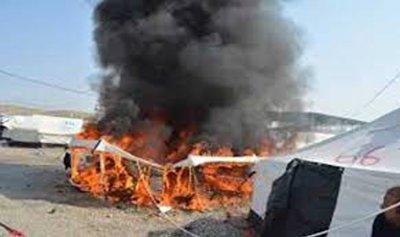 حريق داخل خيمة للنازحين في ابل السقي