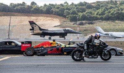 بالفيديو: تسابقت F16 وسيارة فورمولا ودراجة نارية… والنتيجة مفاجئة